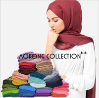 Wholesale Scarves Islamic Women - 114 colors solid plain muslim hijab scarf wraps shawl foulard viscose cotton maxi shawls soft long islamic muslim scarves hijabs