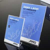 Wholesale acrylic advertising - Free Shipping 10*15cm A6 Clear Acrylic Poster Advertising desktop table price tag cards display stand holder 10pcs pack