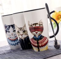 Wholesale Large Ceramic Coffee Mugs Lid - Wholesale- Creative Personality Ceramic Mugs with Lid Spoon Large Capacity Cute Cat Milk Coffee Cups Casual Cups