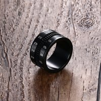 Caméra De Gros Lentilles Slr Pas Cher-Vente en gros - Bagues pour hommes uniques en acier inoxydable SLR Camera Lens Ring pour les hommes Black Fashion Jewelry Spinner Band Photographes Accessoires HOT