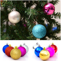 Wholesale Hot Pink Christmas Tree Ornaments - Hot Selling 24pcs  lot Christmas Tree Decor Ball Bauble Hanging Xmas Party Ornament decorations for Home Decoration