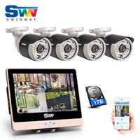http dns оптовых-ANRAN 4CH подключи и играй 2.0 MP POE NVR CCTV Kit 12 ЖК-монитор 1080P HD открытый крытый 36 ИК POE камеры безопасности системы 1 ТБ HDD