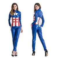 Wholesale Halloween Costume Captain America - Halloween costume Blue female captain America the avengers alliance Cosplay role play female warrior suit club bar pole dancing performance