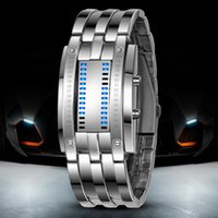 (10 Teile / los) Multi funktion Herrenuhr Luxus Edelstahl Band LED Binary Watch Datum Stunde Armband Sport Uhren reloj hombre