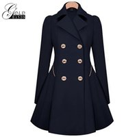 Wholesale cotton trench women overcoat - Gold Hands Women Winter Trench Coat Long Style Overcoat Female Windbreaker Slim Double-breasted Outerwear Jacket Trench Clothing