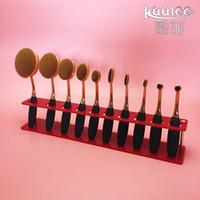 Wholesale Pc Shelf - 10 PCS Brush Storange Place Organizer Clear white red Acrylic 10 Lattices Cosmetic Display Shelf for toothbrush design makeup brushes set