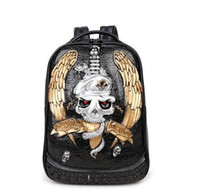 Wholesale 3d Animal Backpacks - Factory sales brand male package 3D animal personality trend personality cool wind street punk backpack rivet 3D stereo skull mens backpack