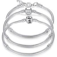 zincir avrupa aşkı toptan satış-5 Stil Gümüş Kaplama AŞK Yılan Zincir Bileklik Bileklik Fit Avrupa Boncuk Pandora Bilezikler Için