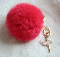 Wholesale Cheapest 14k - Hot 22 colors cheapest best quality real rabbit fur ball plush key chain for car key ring Bag Pendant car keychain Good quality
