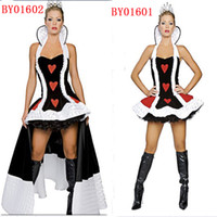 Wholesale red heart queen for sale - Sexy Poker Queen Nobility Dress Vicious Witch Costume Masquerade Vampire Queen Cosplay Halloween Red Heart Costume