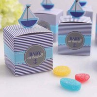 Wholesale Boy Shower Favors - Baby shower Candy Box Creative Sailboat Gift Wedding Box Square High Quality Decorative Gift Boxes for Baby Boy Showers Favors
