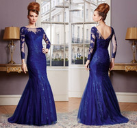 Wholesale Dress Evening Black Long Free - Free Shipping Royal Blue Appliqued Long Sleeve Free Shipping Mermaid Floor-Length Mother of The Bride Evening Dresses HY1499