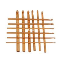 Wholesale Tools Weave Bamboo - New Arrive 12pcs set Sweater knitting Circular Bamboo Handle Crochet Hooks Smooth Weave Craft Needle 12 Size