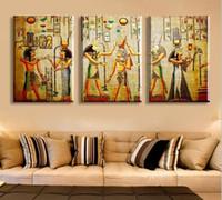 retratos modernos venda por atacado-HD Grande Pintado Abstrata Moderna Pintura A Óleo Sobre Tela Faraó Egípcio Retrato Da Arte Da Parede Para Sala de estar Decoração Presente Imagem