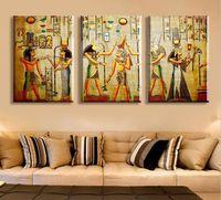 портретные картины оптовых-HD большая роспись современная абстрактная живопись маслом на холсте египетский фараон портрет стены искусства для гостиной Декор подарок картина