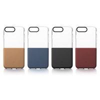 bazus iphone toptan satış-Orijinal Baseus Yarım Serisi Çift Renkli TPU PC şeffaf Kılıf iphone 7 7 Artı 1/2 Yumuşak Sert Ekleme telefon kabuk