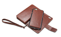 Wholesale Slimmest Iphone Folio Case - Flip Cover Wallet Case Folio Leather Holster Case Protective Shell with Magnetic Detachable Slim Cover Card Holder Slots Wrist Strap