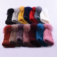Wholesale Trendy White Faux Furs - Woman Winter Hat Beanie Fur Pom Pom Hats Ball For Knitted Cap Skully Warm Ski Hat Trendy Soft Brand Thick Female Caps