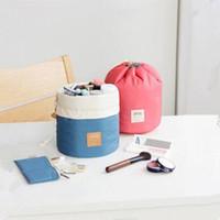 Wholesale Elegant Drawstring Women Bags - Free DHL Fashion Women Barrel Shaped Travel Cosmetic Bag Nylon Drawstring Elegant Drum Wash Bags Makeup Organizer Travel Cosmetics Bags