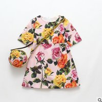 Wholesale Natural Purse - Children dresses girls floral printed short sleeve princess dress with PU belt purse bags sets European American style kids dress R0192