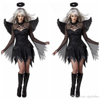Wholesale Women Sexy Halloween Costumes Devil - Halloween Role-playing Demons Apparel Women Black Movie Sexy Role Playing Costumes Dress Headwear Wings Witch Cosplay Apparels