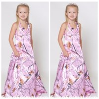 Wholesale Cute Birthday Gifts For Girls - Halter Pink Camo Kids Formal Wear Cute A-Line Flower Girls Dresses For Wedding Party Custom Online Gift Birthday Dress