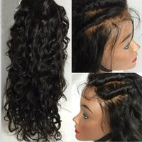 Wholesale Long Half Wig Human Hair - Unprocessed Human Hair Wigs Baby Hair Water Wave Brazilian Full Lace Wig   Lace Front Wigs For Black Women 8A Top Quality