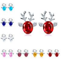 Wholesale Crystal Reindeer - Crystal Gemstone Earrings three Dimensional Christmas Ornaments Reindeer Antlers Earrings Sud Crystal for Women Gift Jewelry Accessories