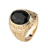 Wholesale Men Real Gold Rings - Mens Rings Black Precious Stones Real 18K Gold Ring For Men Retro Texture Engraving Modelling Is Simple And Generous Wholesale