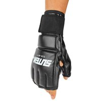 Wholesale Punching Bag Gloves - 1 Pair Brand New Cool Men MMA fighting boxing gloves Muay Thai Training Punching Bag Mitts Sparring Boxing Gloves wholesale YH40
