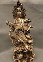 """Wholesale Chinese Silver Statue - 17"""" Chinese Buddhism Silver Stand Kwan-yin Guan Yin Goddess subdue Dragon Statue"""