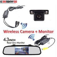 KOORINWOO 3 em 1 Auto sem fio de estacionamento 4.3 Digital TFT LCD Mirror Monitor de espelho de carro com HD CCD Mini Car Rear View Camera Back-up System