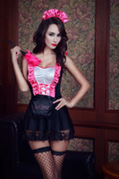 Wholesale erotic role play costumes - Sexy French Maid Cosplay Uniform Hot Erotic Lingerie Fancy Women Role Play Costume Dress Lovely Pink Ruffle Lace Clubwear