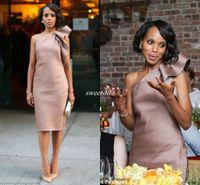 seksi gri nedime elbiseler toptan satış-Yeni Kerry Washington Ünlü Elbise Nedime Parti Törenlerinde Bir Omuz Yay Saten Diz Boyu Kılıf Kulübü Kokteyl Elbiseleri 2019