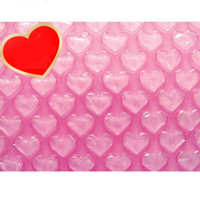 Wholesale inflatable hearts - Wholesale-0.3*60m New Heart-shaped Cushioning Package Bubble Roll Air Inflatable Packaging Wrap Foam Pouch Protection Shipping Foam Rolls