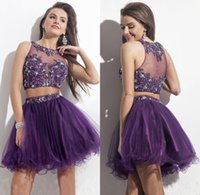 robes robe violet achat en gros de-2 pièces robe 2016 Nouveau Violet Court Homecoming robes Rachel Allan Bijou Cou Illusion Retour Strass Dentelle Parti Bal Cocktail Robes