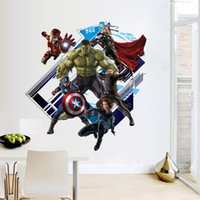 Wholesale Avenger Decals - 3D Avenger Wall Sticker Baby Kids Room vinyl Stickers Cartoon Home Decor Wallpaper Poster Y007 boy's room decals Nursery Art PVC