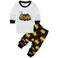 Wholesale Childrens Christmas Sleepwear - 2017 new Batman Superman Kids Clothes Baby Boys Long Sleeve Cotton Pajamas Childrens Sleepwear Pijamas Sets