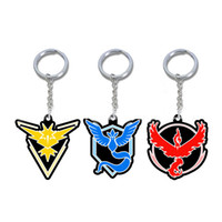 Wholesale key ring mobile phones - New Pocket Monster Key Rings Cartoon PVC Cell Mobile Phone Keychain For Team Valor Team Mystic Team Instinct Party Favor Gifts SZ-K04