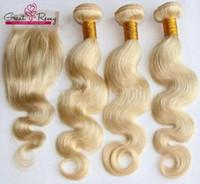 sarışın brazilian dalga saç paketleri toptan satış-Bal Sarışın 613 Insan Saçı Örgü Dalga Brezilyalı Vücut Dalga 3 adet 613 Kapatma Ile Bakire Saç Demetleri Greatremy Fabrika Özelleştirilebilir