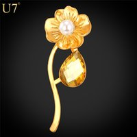 Wholesale Real Silver Ring Men - New New Trendy Gold Flower Brooches For Women  Men Jewelry Wholesale 18K Real Gold Platinum Plated Unisex Brooches Pin B101