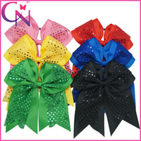 Wholesale Elastic Color Hair - Wholesale 18 pcs lot 8 inch Baby Girls Cheer Bows Solid Color Ribbon Sequin Double Layers Cheerleading Bows With Elastic Band