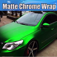 Wholesale foil wrapped cars online - Satin Chrome Green Vinyl Car Wrapping Film with air release Matte chrome green wrap Foil Vehicle styling skin x20m Roll