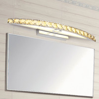 Wholesale modern mirror sconce - New Arrival 10W 15W LED Crystal Mirror Light 44cm 54cm Wall Lamp Bathroom Lights 110-240V Stainless Sconces Indoor Mirror Front Wall Lamp