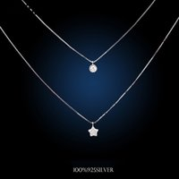 Wholesale korea stainless steel jewelry - Wholesale- Korea Fashion Double Chain Necklaces 925 Sterling Silver Star Necklaces&Pendants Jewelry Collar Colar Free Shipping