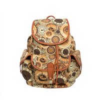 Wholesale Bohemian Canvas Bag - Clearance Fashion Backpack Canvas School Bag Floral Casual Vintage Travel Bohemian Preppy Style Woman National Multi-pattern WZ003-11
