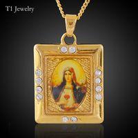 Wholesale Gold Mary Jesus Pendant - Birthday Gift Virgin Mary Pattern Pendant Necklace Gold Color Christlicher Cross Medallion Women Jesus Christian Copper Jewelry