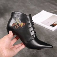 New Arrival Littie Bee Womens Ankle Boot Outono Inverno Cow Leather Lace Up Booties Ladies High Heel 7.5CM Shoes Size 35-39