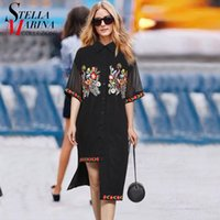 All'ingrosso- 2017 European Fashion Summer Women Black Chiffon Shirt Dress manica corta Fiore Appliques Casual Straight Dress Robe Femme 2333