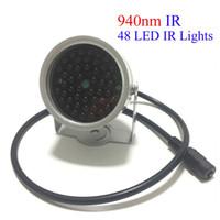 iluminador infrarrojo para cctv al por mayor-Lámpara de luz de llenado 12V Iluminador de infrarrojos 48 LED No luz roja Visión nocturna por infrarrojos para cámaras de seguridad CCTV